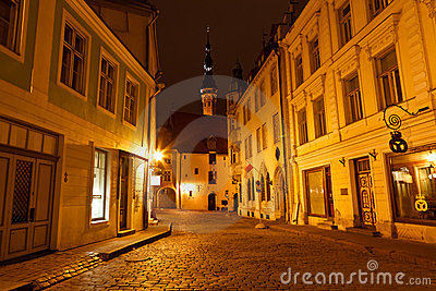 Night Street in the Old Town of Tallinn