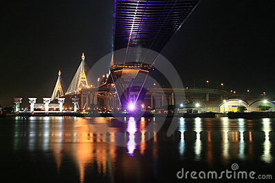 Night suspension bridge across Chao Phraya River