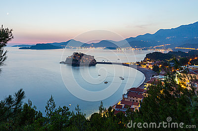 Night Sveti Stefan sea islet (Montenegro)