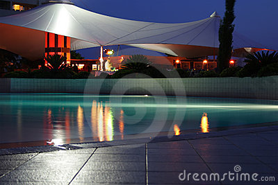 Night Swimming-pool Royalty Free Stock Image - Image: 4178736