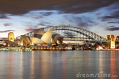 Night Sydney Opera House with Harbour Bridge Editorial Image