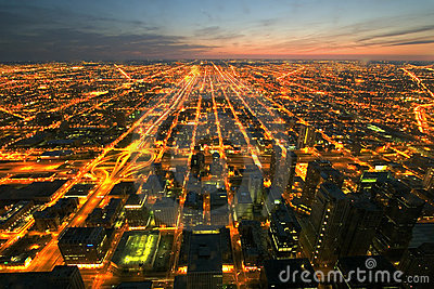 Night time aerial view of Chicago