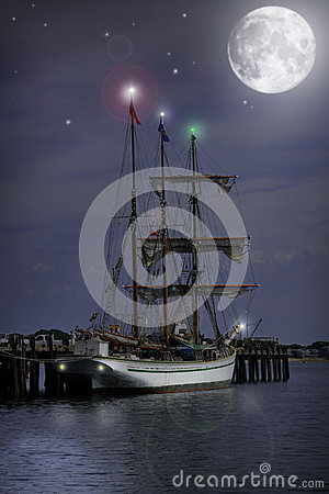 Free Night Time Sail Boat Royalty Free Stock Image - 26018666