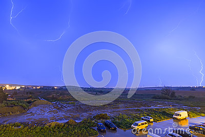 Night time thunderstorm