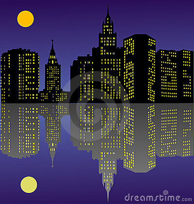 Night town with reflection