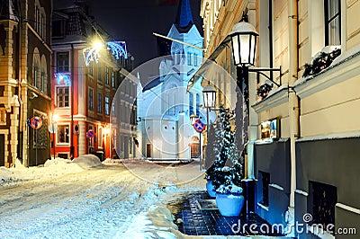 Night town in winter