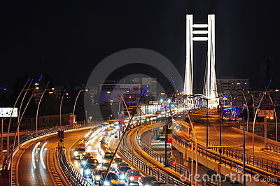 Night traffic on Basarab bridge, Bucharest Editorial Photography
