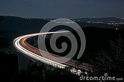 Night traffic on the  highway viaduct