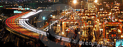Night Traffic in Hong Kong Cargo Terminal