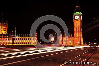 Night traffic near Big Ben