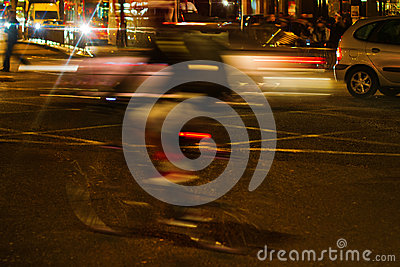 Night traffic scene in London
