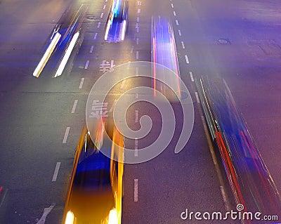 Night traffic in Shanghai