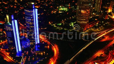 Night Traffic and Skyscrapers. View from Above. Timelapse 4K stock video