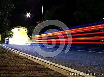 Night traffic tunnel