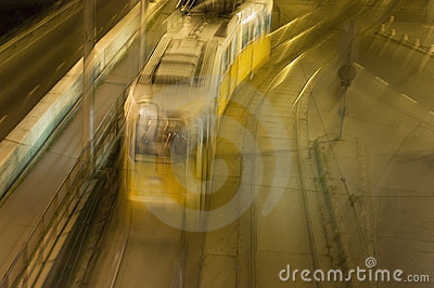 Night tram at Budapest, Hungary