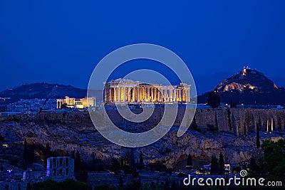 Night view of Acropolis, Athens