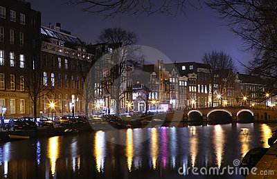 Night view of Amsterdam canals