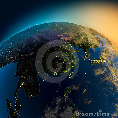 Night view of Asia from
