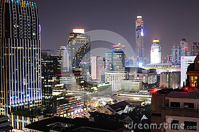 Night view of Bangkok from Chitlom area Editorial Photography