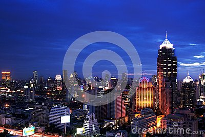 Night view Bangkok city scape Editorial Photography