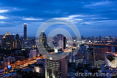 Night view Bangkok city scape Editorial Photo