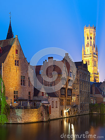 Night view on Belfort in Bruges