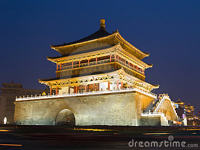 Night view of the Bell Tower in Xian