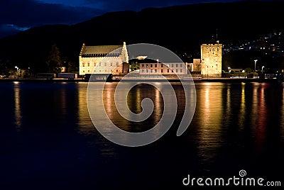 Night view of Bergenhus Fortress, Bergen, Norway
