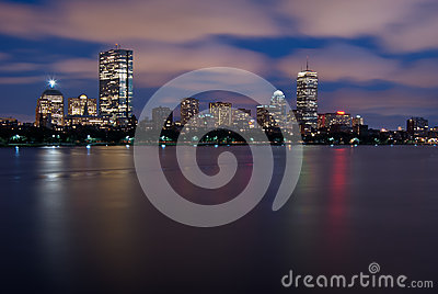 Night View of the Boston Skyline Over the Charles