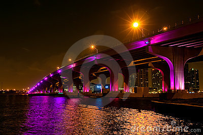 Night view of the bridge in downtown Miami