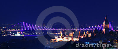 Night view of the bridge over th, Istanbul, Turkey