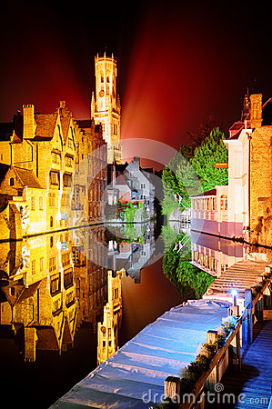 Night view of Bruges, Belgium
