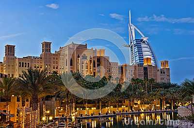 Night view of Burj al Arab hotel Editorial Photography