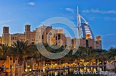 Night view of Burj al Arab hotel Editorial Photography