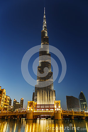 Night view of Burj Khalifa in Dubai, UAE Editorial Photo