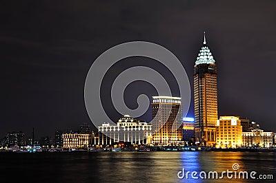Night view of business buildings in Shanghai Bund