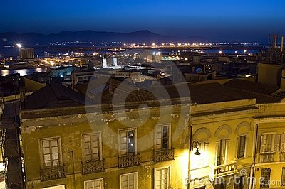 Night view of Cagliari