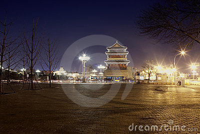Night view of Chinese tower building
