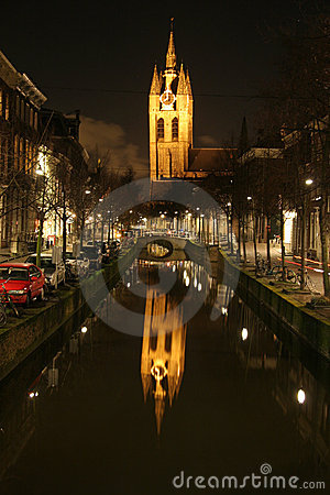 Night view of church reflecting in canal