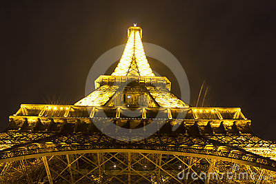 Night view of a Eiffel tower Editorial Stock Image