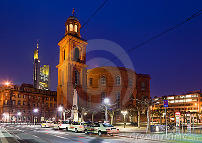 Night view of Frankfurt city Editorial Stock Photo
