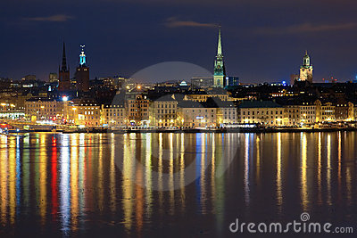 Night view of the Gamla Stan in Stockholm, Sweden