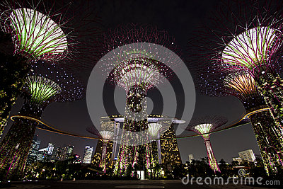 Night view of Gardens by the Bay Editorial Stock Photo