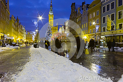 Night view of Gdansk. Editorial Photo