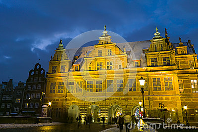 Night view of Gdansk. Editorial Stock Image