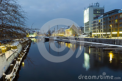 Night view of Gdansk. Editorial Image