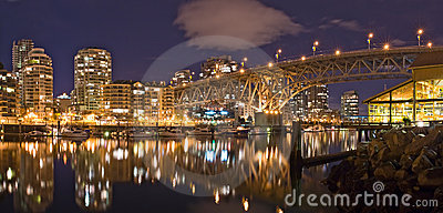 Night view at Granville Street Bridge in Vancouver