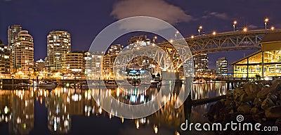 Night view at Granville Street Bridge in Vancouver