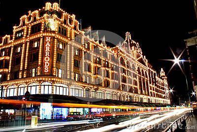 Night view of Harrods Editorial Photo