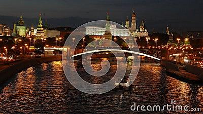 Night view of the Kremlin, Bolshoy Kamenny Bridge stock video